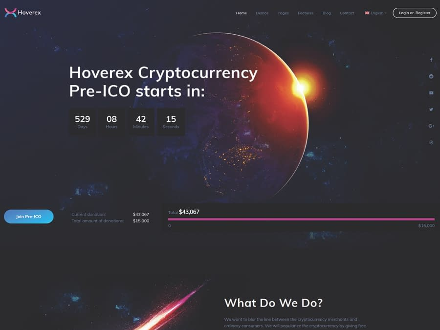Hoverex Cryptocurrency & ICO WordPress Theme