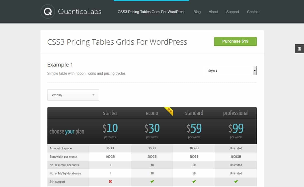 CSS3 Responsive WordPress Compare Pricing Tables - WordPress Pricing Table Plugin