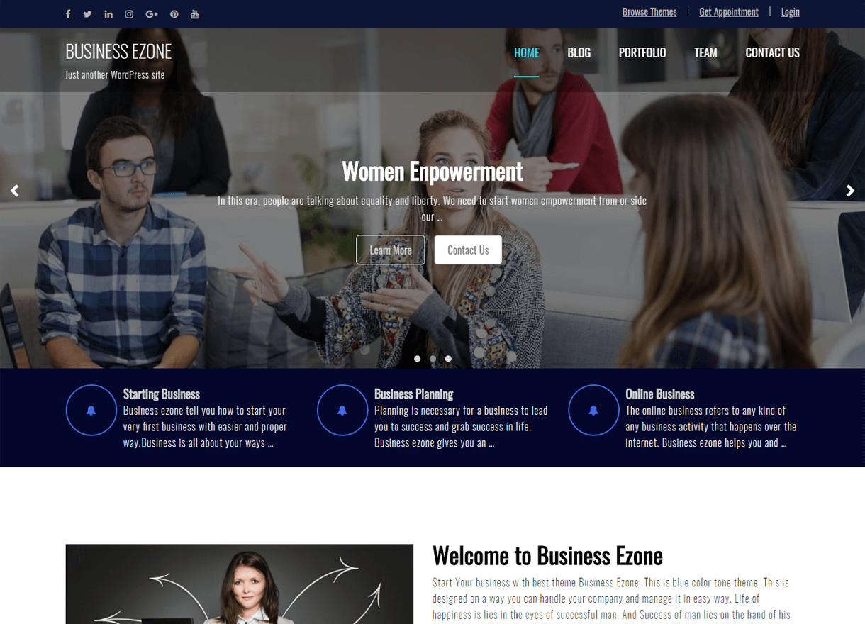 Business Ezone-Best Free WordPress Themes February