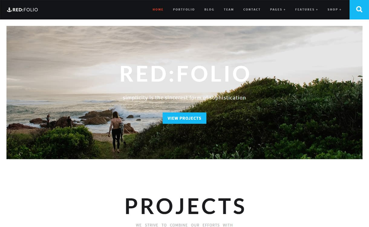 RedFolio - Best Premium WordPress One-Page Themes 2017
