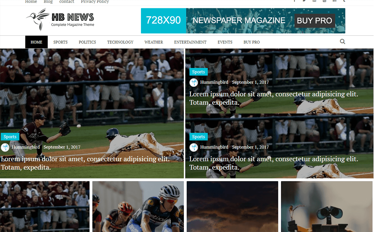 Newspaper Magazine - Best Free Adsense WordPress Themes