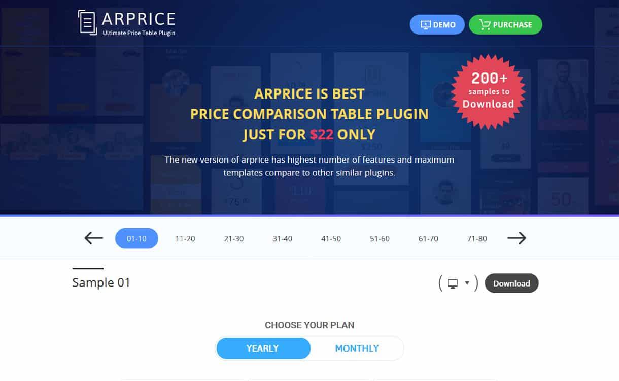 ARPrice - WordPress Pricing Table Plugins