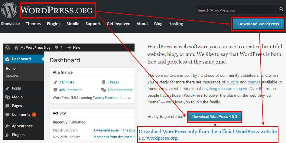 download wordpress from main wp site