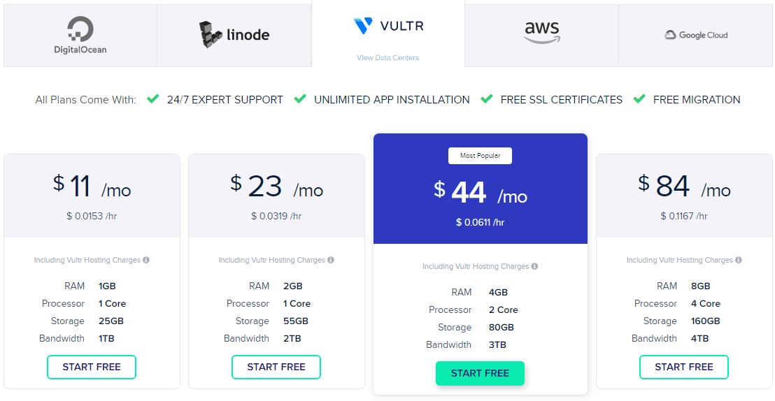 Cloudways: Vultr Pricing Plan