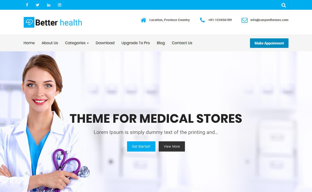Better Health-Best Free WordPress Health Medical Theme