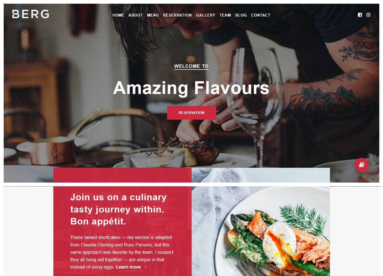 Berg-Best Cafe and Restaurant WordPress Themes