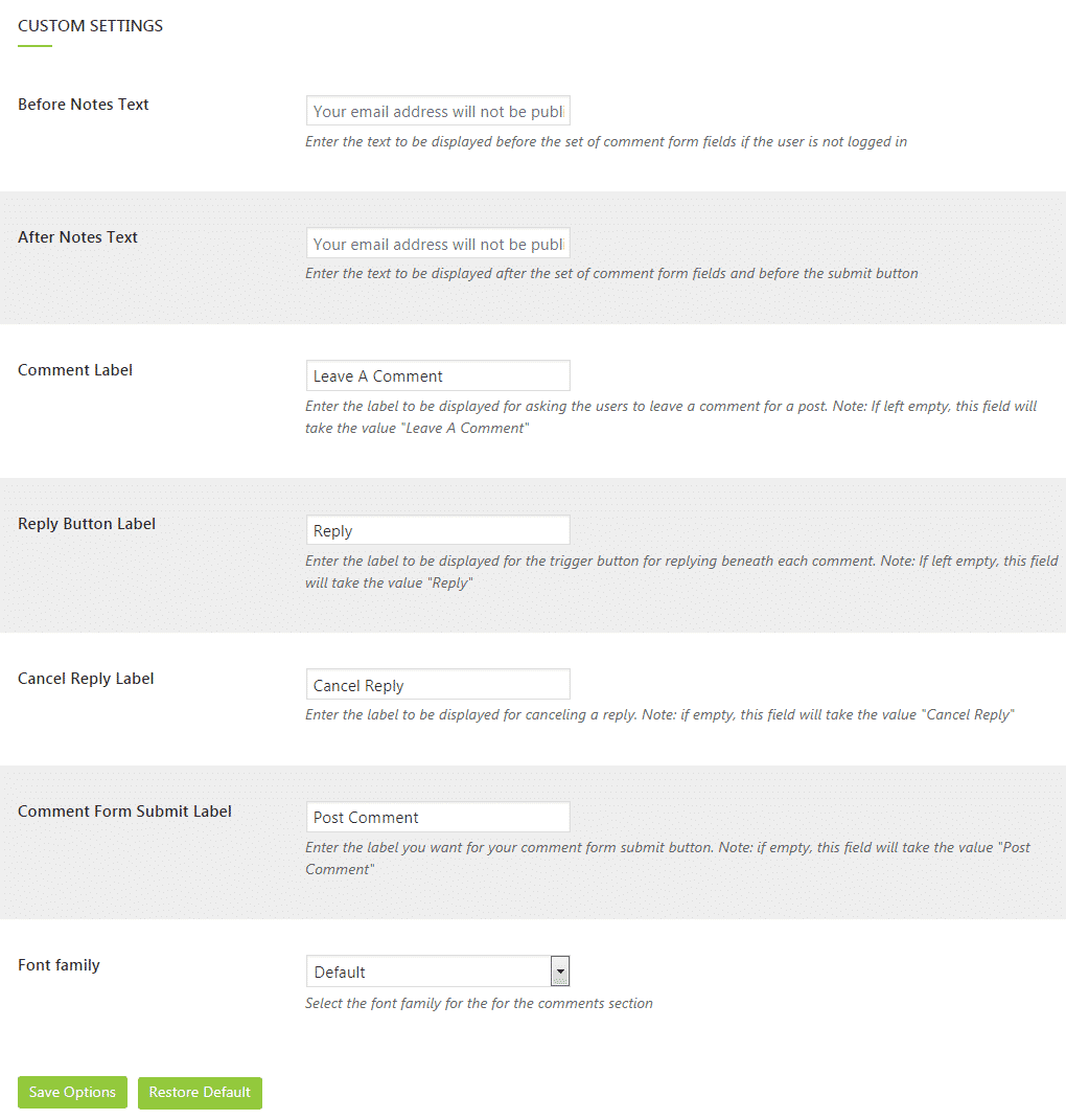 WP Comment Designer Lite: Customization Settings