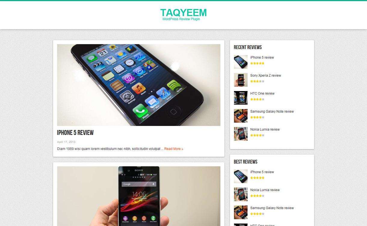Taqyeem WordPress User Admin Review Plugin