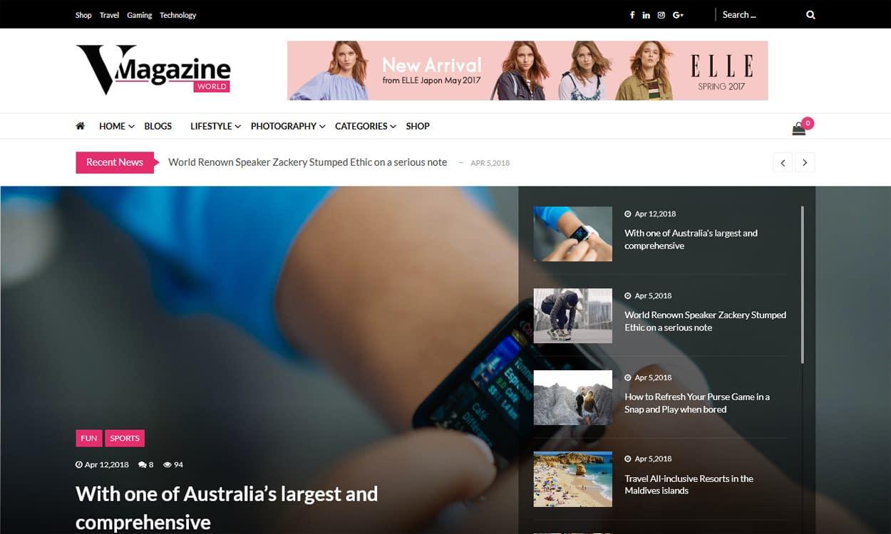 Vmagazine - Blog and Magazine WordPress Theme