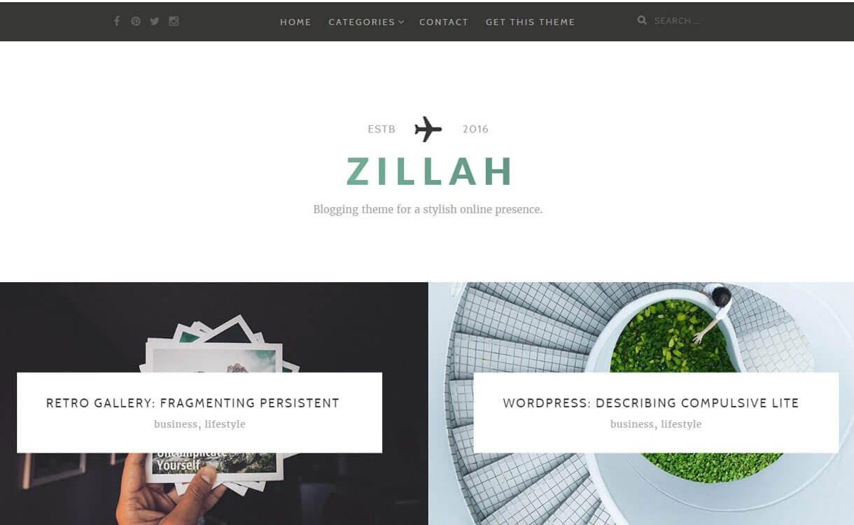 Zillah - Best Free WordPress Personal/Professional Blog Themes