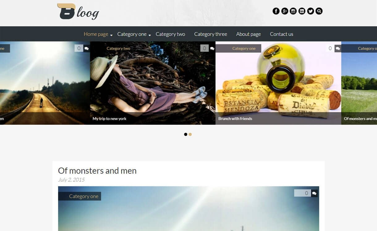 Bloog Lite - Best Free WordPress Blog Themes for 2017