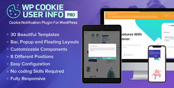 WP Cookie User Info Pro - WordPress Cookie Notification Plugin