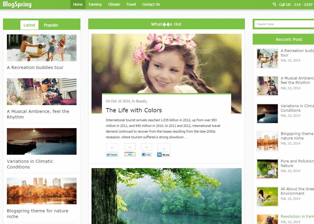 BlogSpring- WordPress Blog Theme