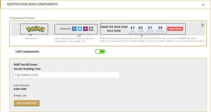 Apex Notification Bar: Notification Bars Left Component