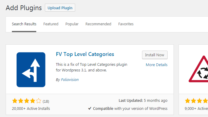 FV Top Level Categories plugin