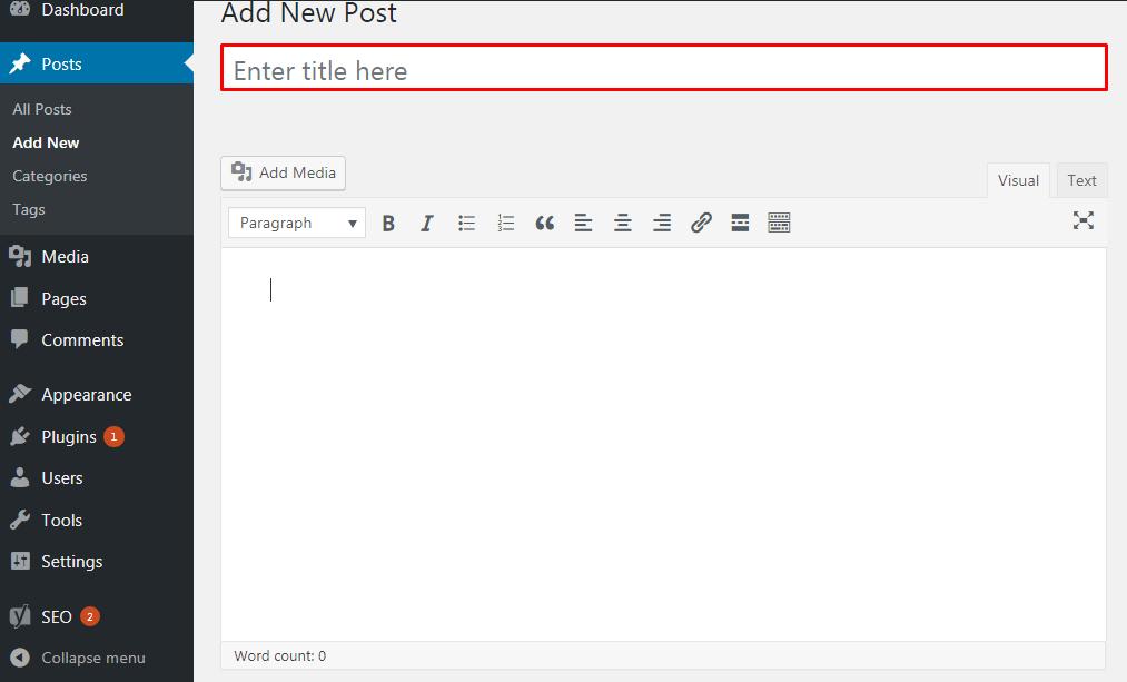 Add a New Post in WordPress.