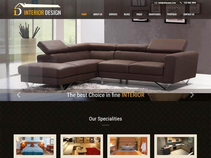 Interior Lite - Best free WordPress Theme September 2016