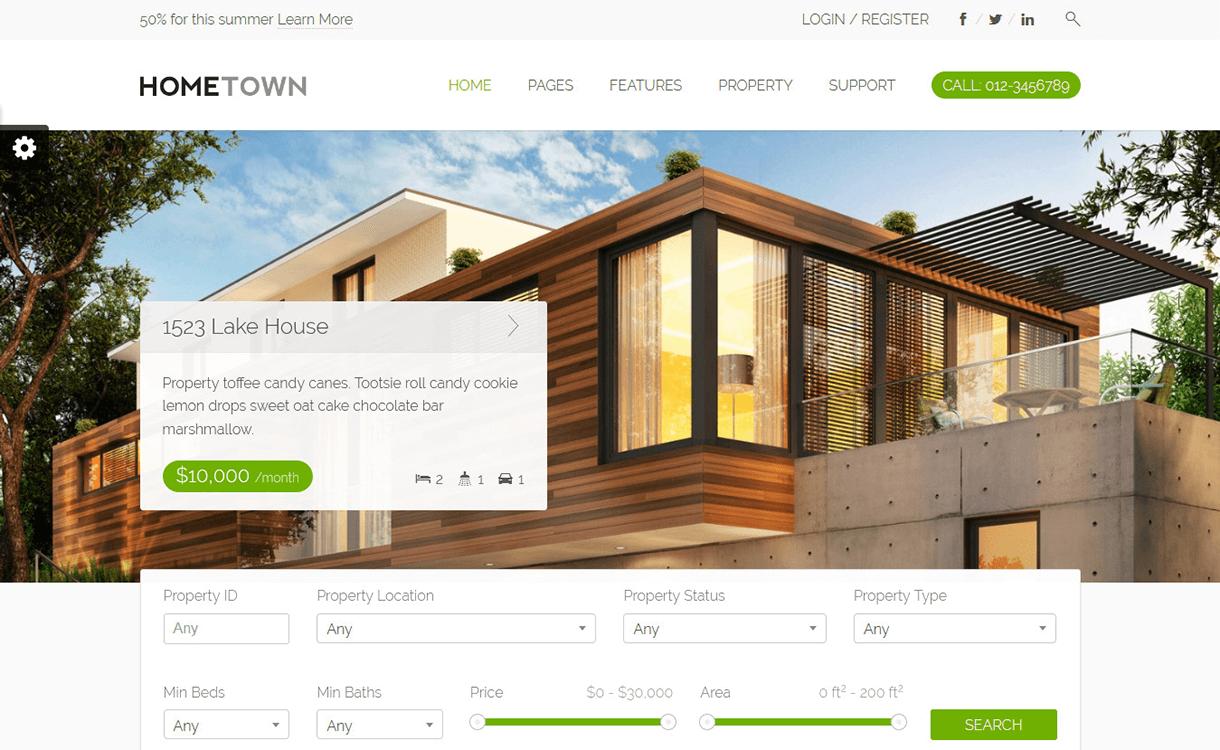 HomeTown-Best Free And Premium Real Estate WordPress Themes