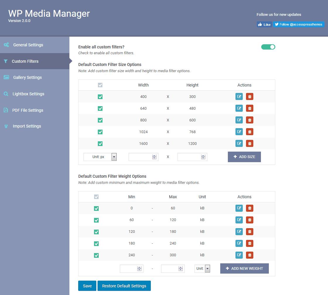 WP Media Manager: Custom Filters