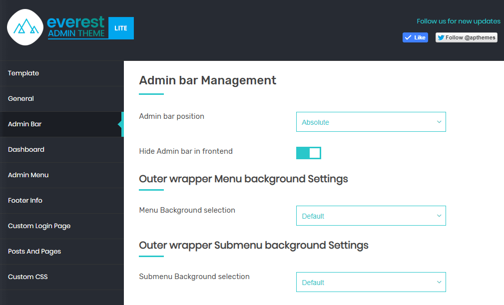 Everest Admin Theme: Admin Bar