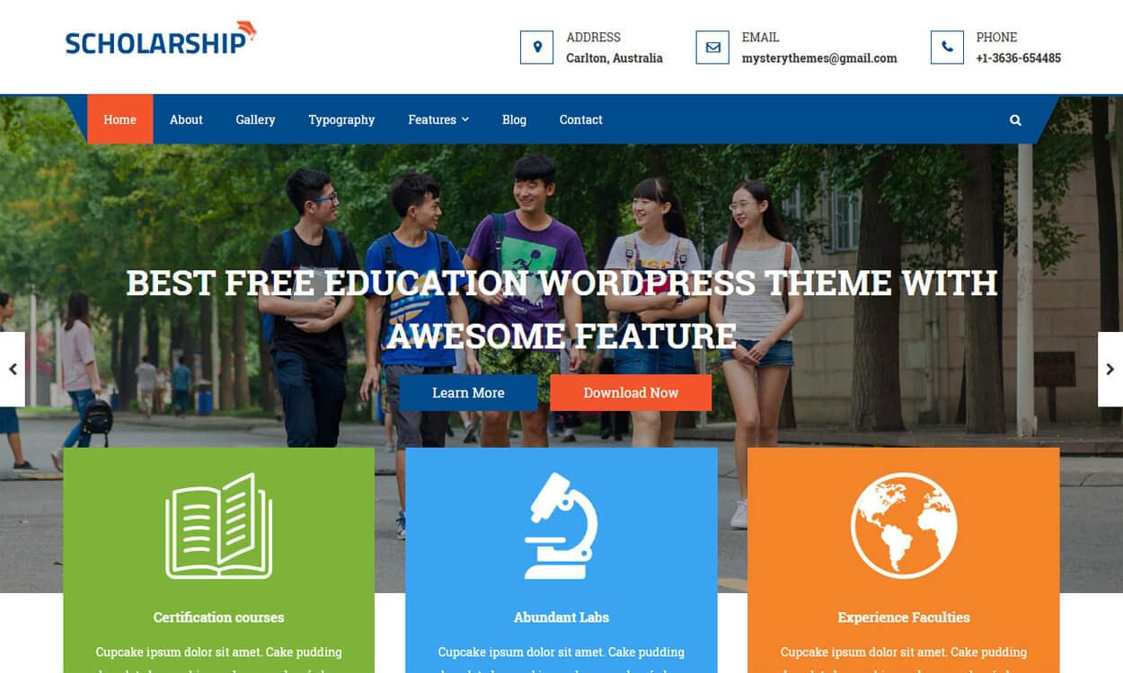 Scholarship - Best Education School College WordPress Themes and Templates (Free)