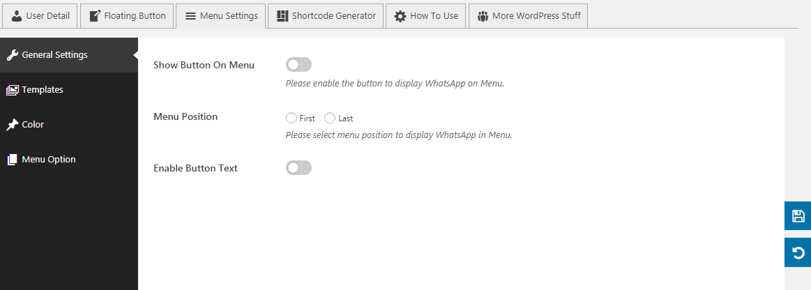 WP WhatsApp Button: General Settings