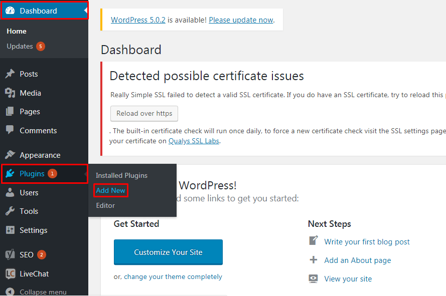 Install a New Plugin to the WordPress Site.