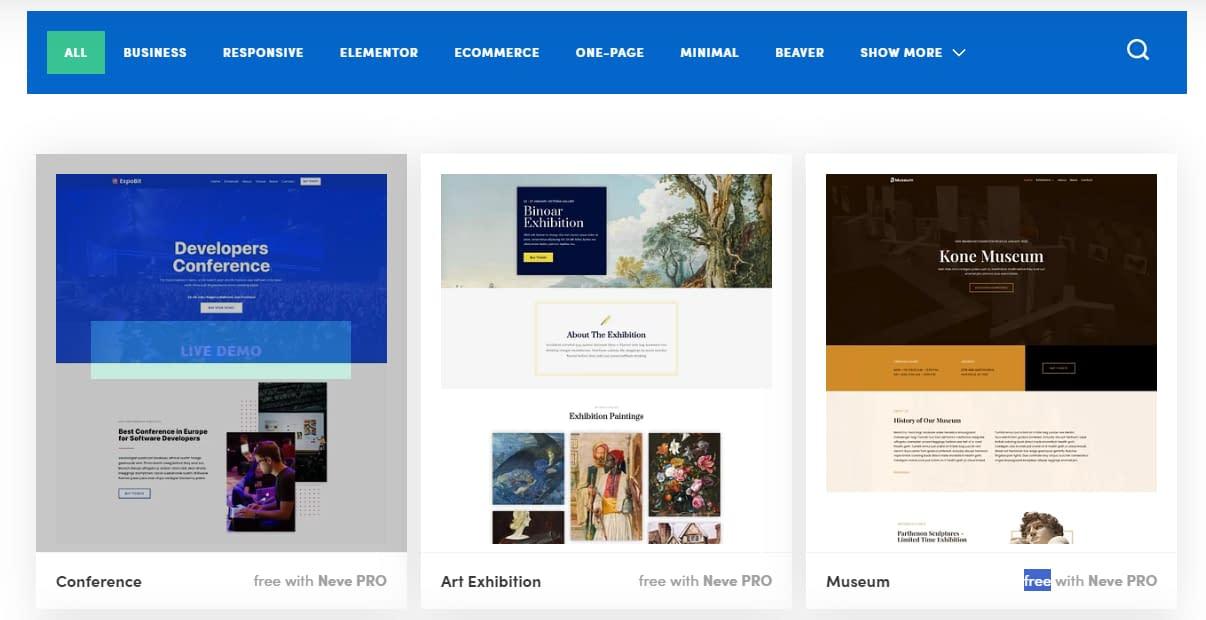 Neve WordPress Theme - Starter Sites