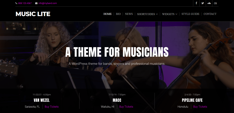 Music Lite - Best Free Video and Music WordPress Theme