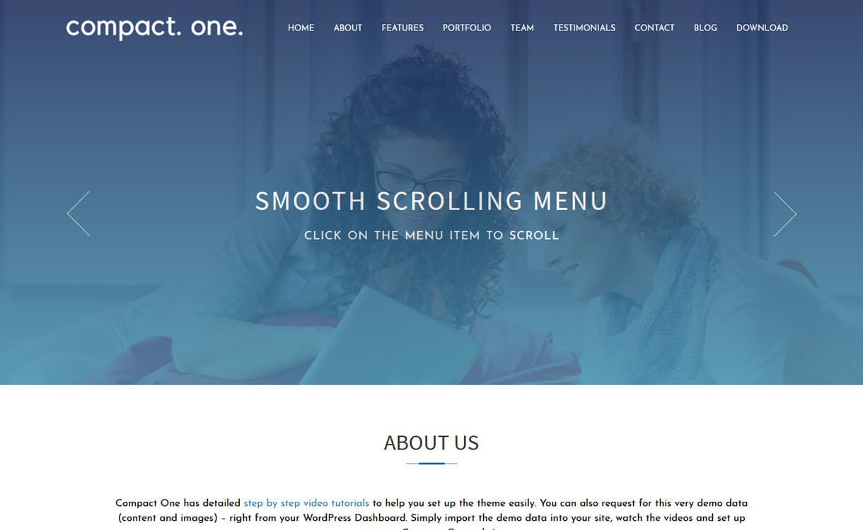 Compact One-Best Free One Page WordPress Themes
