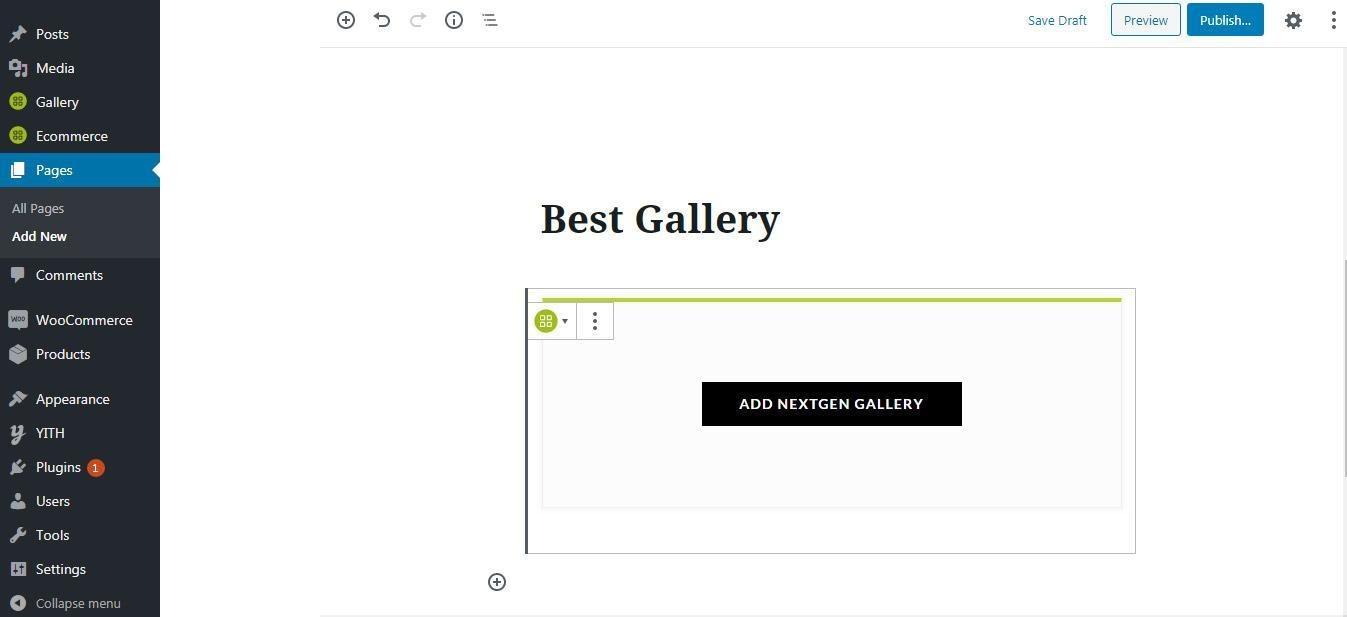 NextGEN Gallery Pages