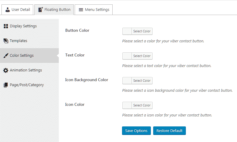 Ultimate Contact Button: Color Settings