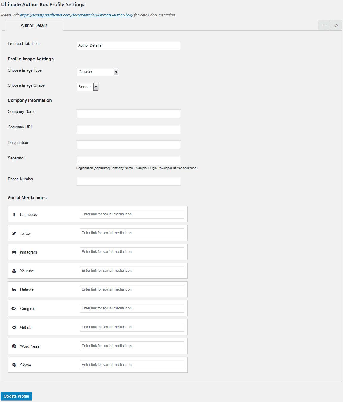 Ultimate Author Box Lite: Profile Settings