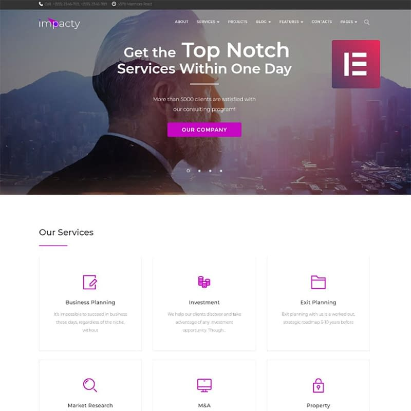 Impacty - Business Consulting Elementor WordPress Theme