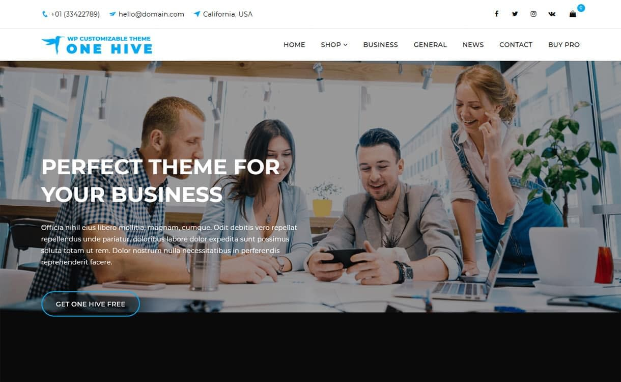 One Hive-Best Free WordPress Themes May 2018