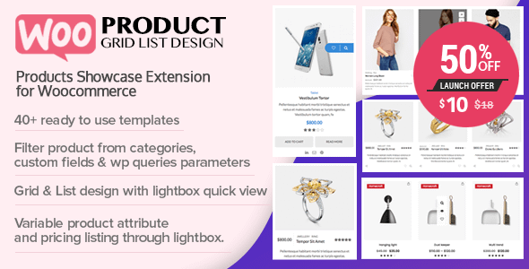 WOO Product Grid/List Design - Responsive WordPress Product Showcase Extension for WooCommerce