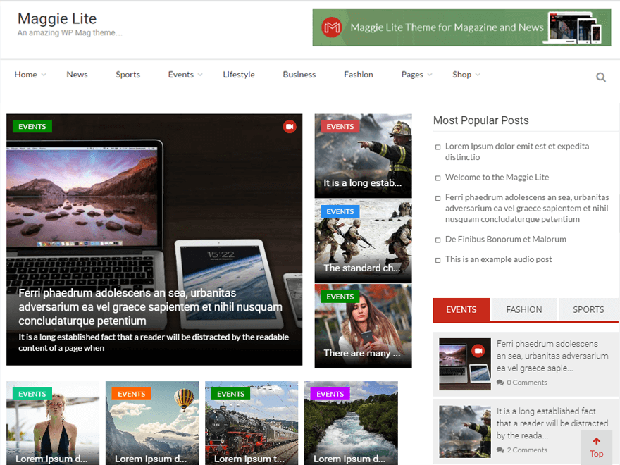 Maggie Lite - Best free WordPress Theme September 2016