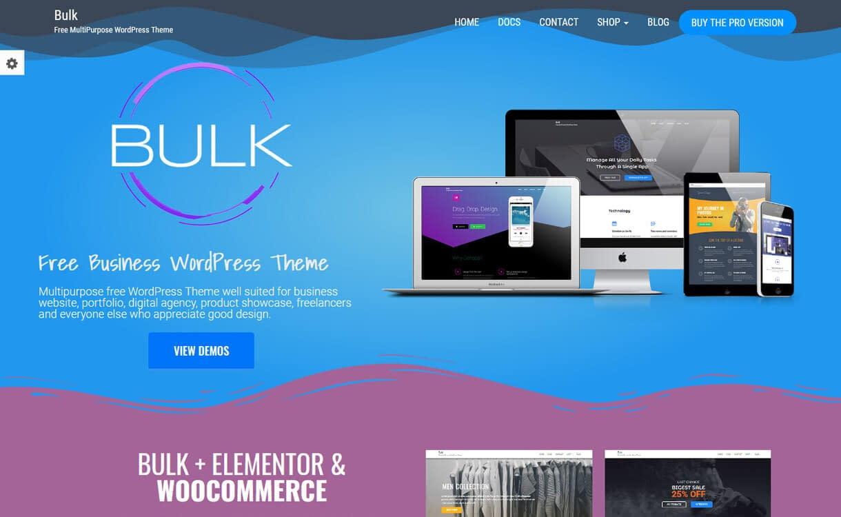 Bulk-Free WordPress Landing Page Theme