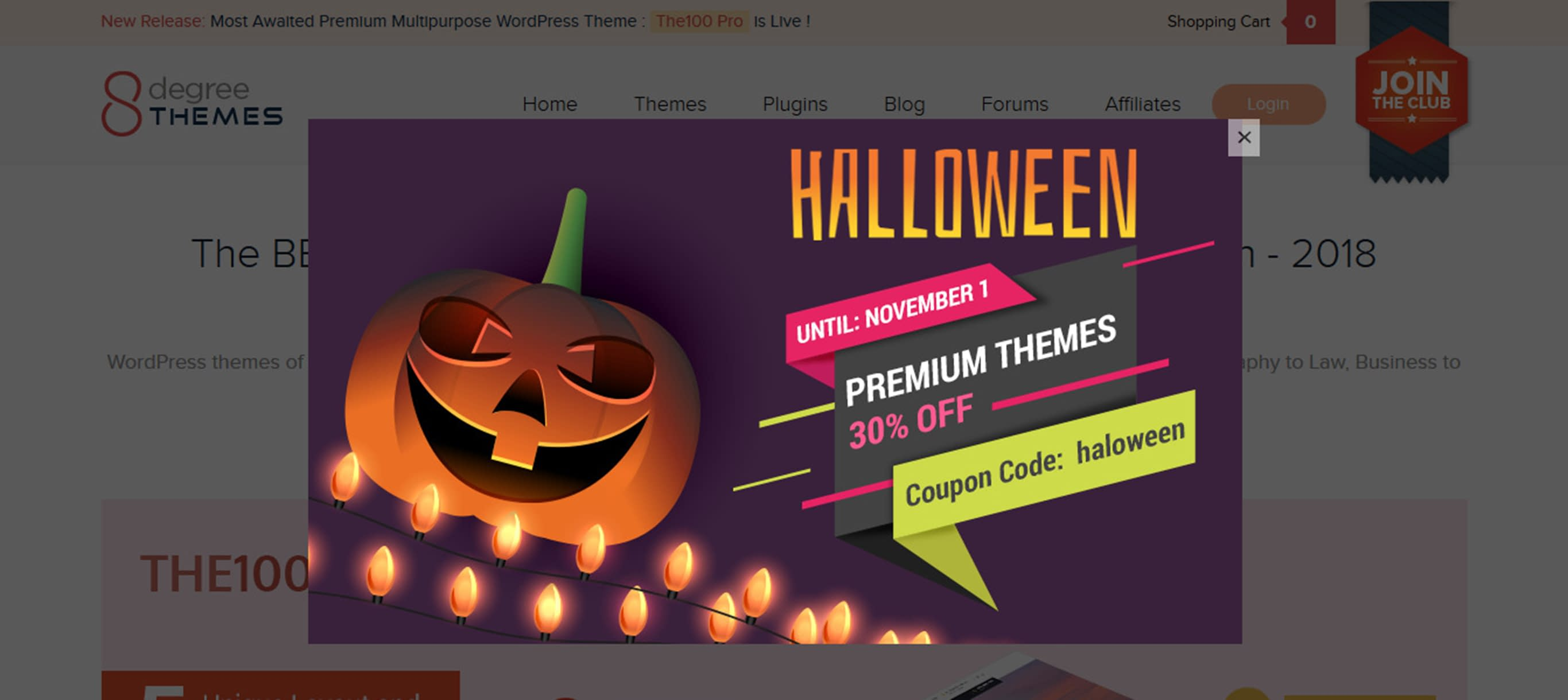 WordPress Deals and Discounts for Halloween 2018 - 8Degree Themes