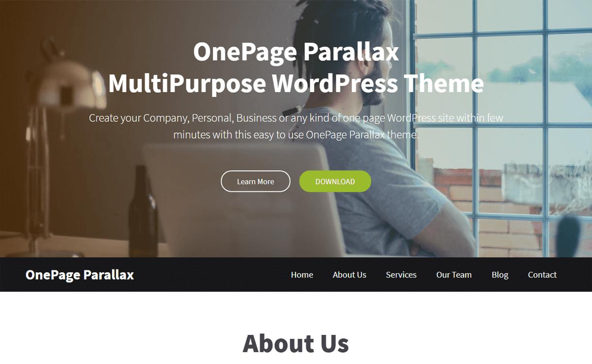 OnePage Parallax-Best Free One Page WordPress Themes