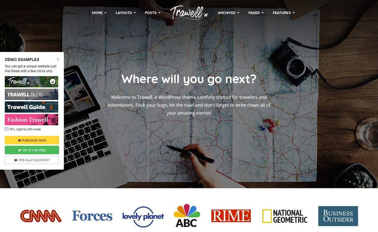 Trawell-Best Travel Blogs WordPress Themes