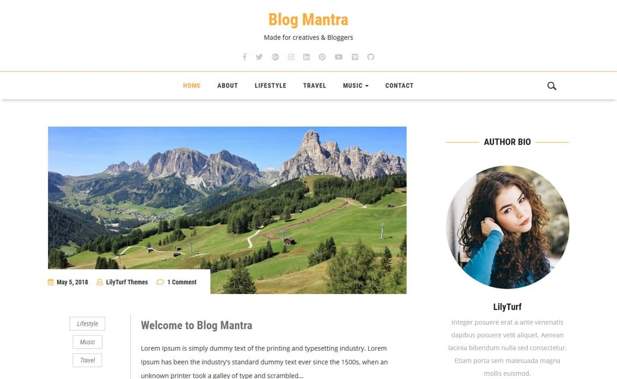 Blog Mantra-Best Free WordPress Themes May 2018