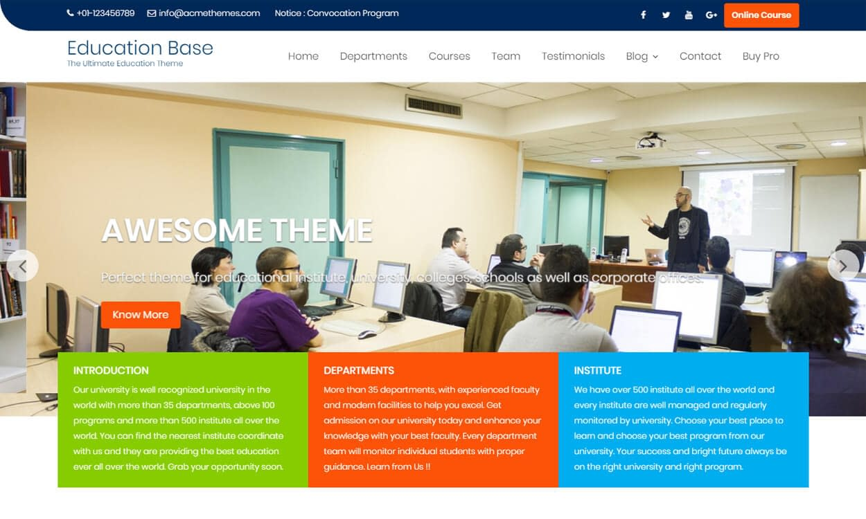 10+ Best Education - School, College WordPress Themes and Templates (Free)