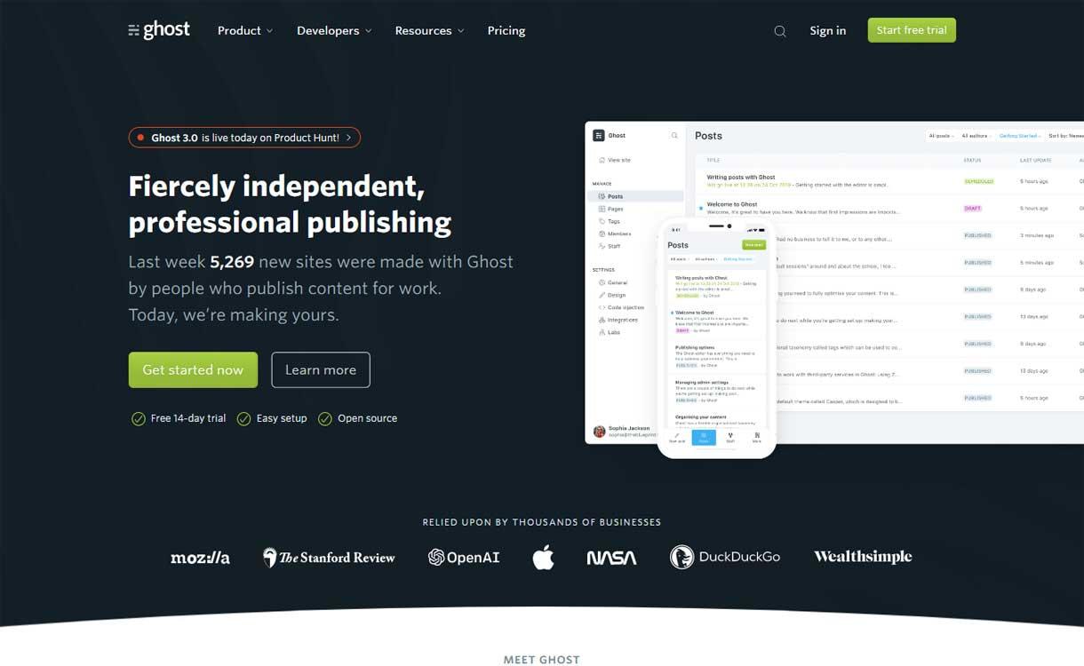 Ghost - Best Blogging Platforms