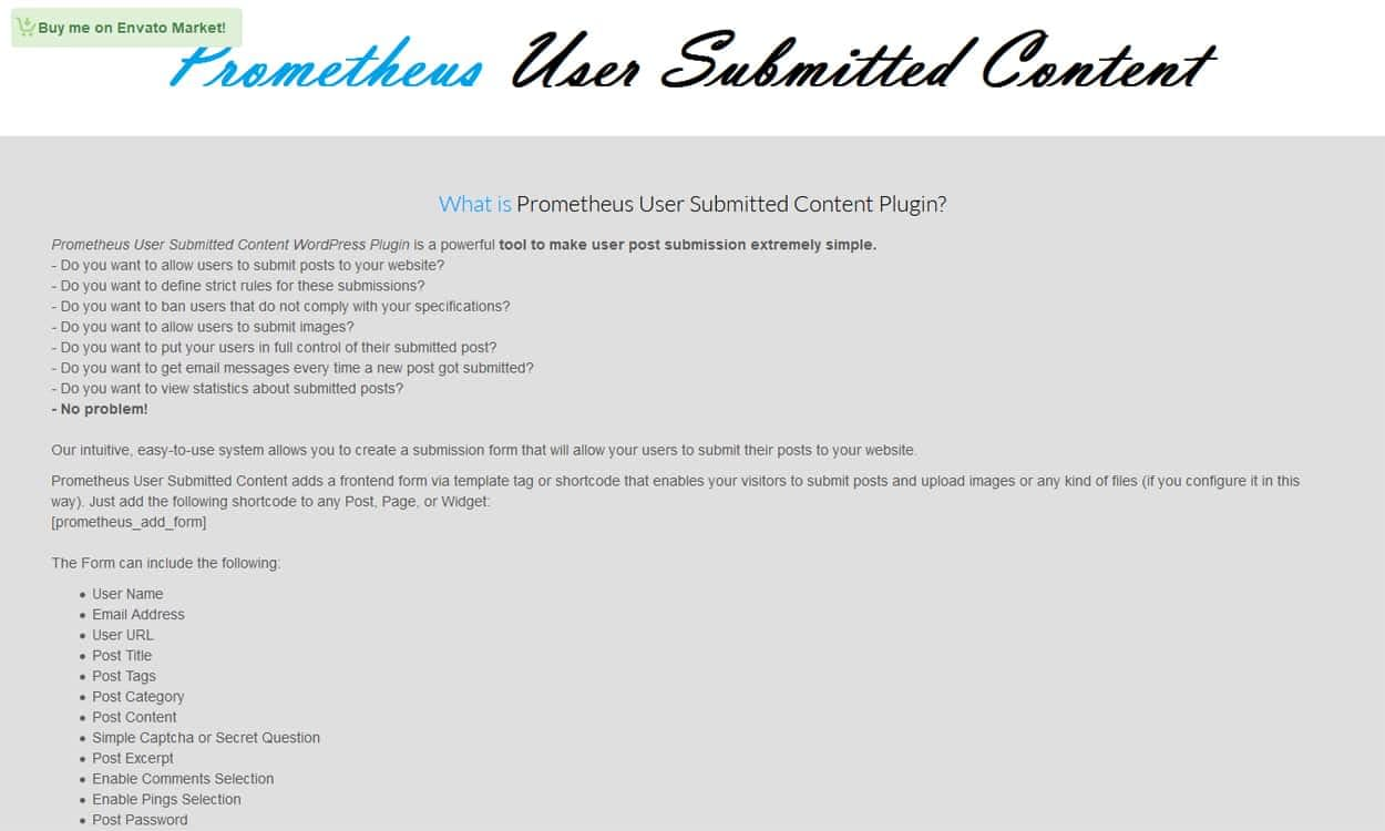 Prometheus User Submitted Content - Best Premium WordPress Frontend Post Submission Plugins