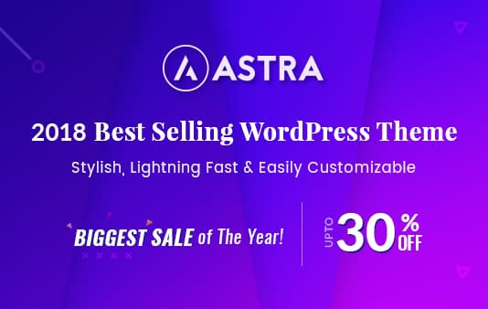 Astra - Black Friday and Cyber Monday WordPress Deal 2018