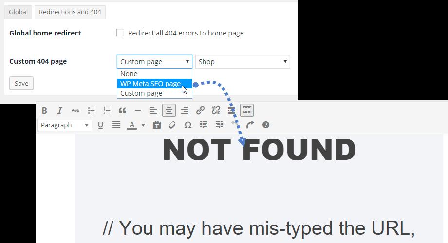 WP Meta SEO Feature 404 custom page