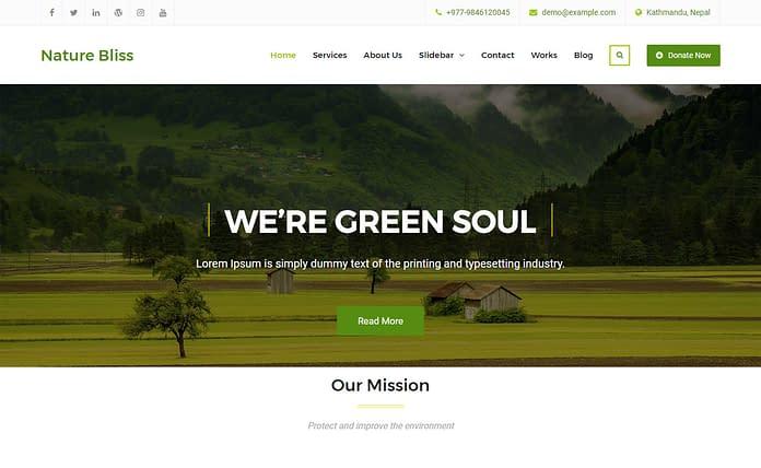 Download Nature Bliss - Free Business WordPress Theme