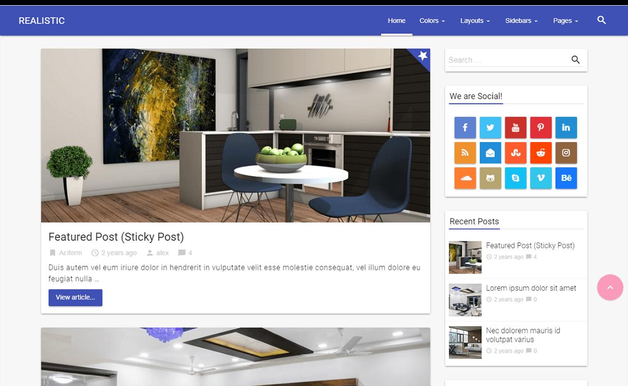 Realistic-WordPress Material Design Theme