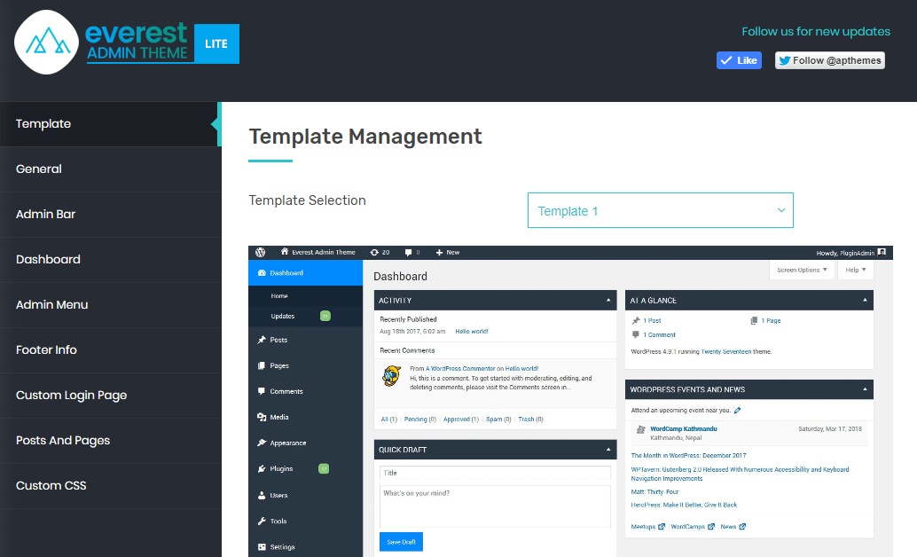 Everest Admin Theme: Template